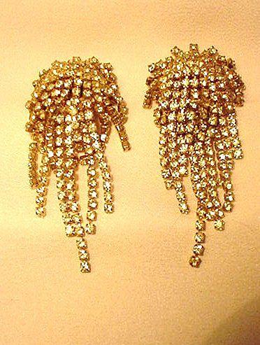 Rhinestone Clip Earrings with Rows of Dangling Rhinestones