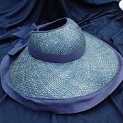Vintage Black Straw Hat, Grosgrain Ribbon on Wide Brim, Hollow Crown