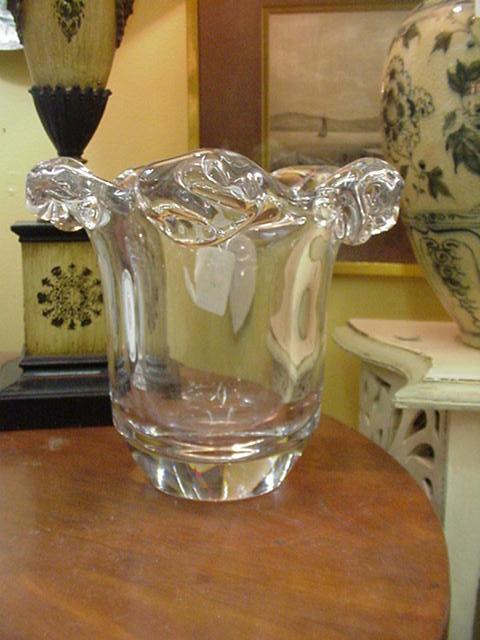 Daum Crystal Vase or Champagne Bucket, Heavy, Heavy Glass