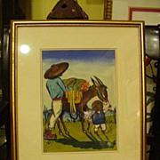 Watercolor Central America Genre Scene, 1960s