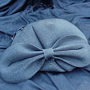 Sassy Vintage Cocktail Hat, Black Straw, Huge Bow