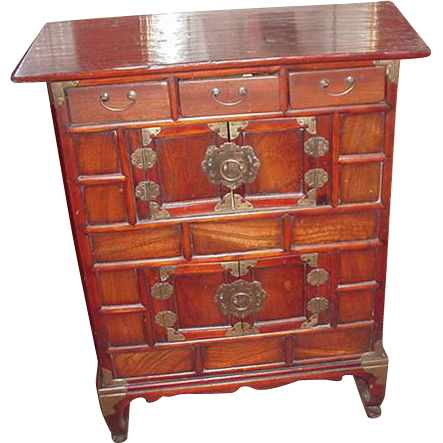 Fabulous Hand-Made, Antique Korean Chest, Brass Hardware