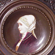 REDUCED Porcelain Portrait Plate of Woman w Religious Symbols in Relief Frame