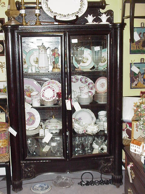 Double-Door Book Case or China Cabinet, Painted Black, Art Nouveau Styling