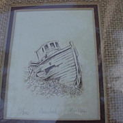 Small Edition Etching of Shrimp Boat, Mellen