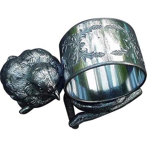 Meriden Quadruple Silverplated Figural Napkin Ring, Chick on a Twig