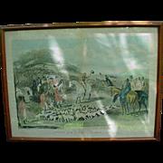 19th C. English Hunt Scene Engraving, Proof, F.C.Turner