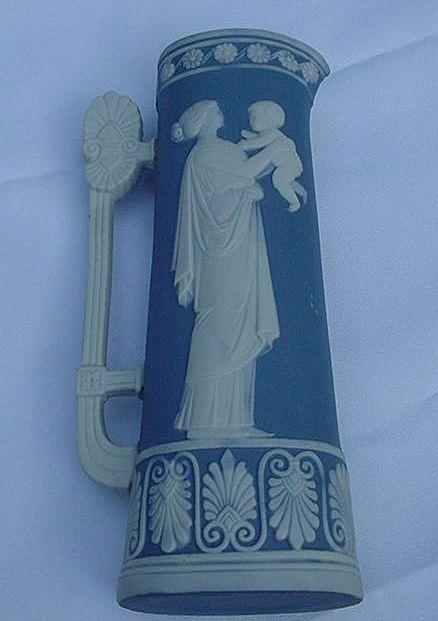 Blue Jasperware Vase, Goddess w Child