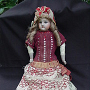Bisque Head Doll w Kid Body, Gusseted Joints, Open Mouth