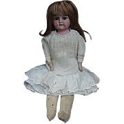 19th C.Bisque Head Doll, Kid Body, Bisque Arms, Cloth Legs Below Knee