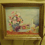 Still Life, Oil on Canvas in Very Fine, 19th Century Gold Frame