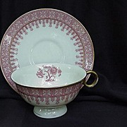 Theodore Haviland, New York, Pair of Red Cambridge Cups and Saucers