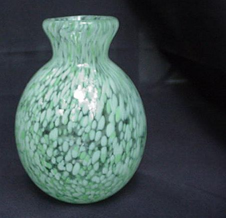 Crystal Spatter Vase, Green and White