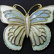 J J Enamel on Gold Tone Metal Butterfly Pin