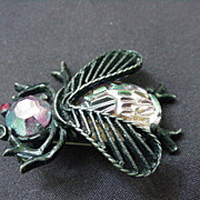 Weiss Black Enamel Fly Pin w Aurora Borealis Head and Body