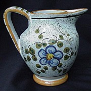 Deruta Pottery Pitcher, Italy, Floral Decoration