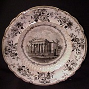 Black Transferware Plate, England, Church of the Blind Asylum, Liverpool