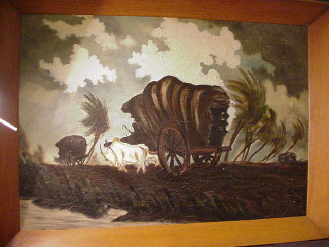 J. Dos Oil on Canvas, Covered Wagons, Tropical Landscape