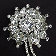 Fabulous Prong- Mounted Rhinestone Pin, Flower Shape