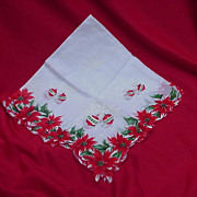 Vintage Christmas Handkerchief, Poinsettias and Christmas Balls