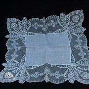 Delicate Lace Wedding Handkerchief with Orchid Images