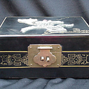 Vintage Japanese Lacquered Jewelry Box with Hard Stone Decoration