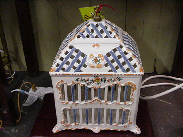 Vintage Ceramic Bird Cage, Hand-Painted, Italy