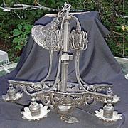 Antique Five-Arm  Metal Chandelier Painted Black