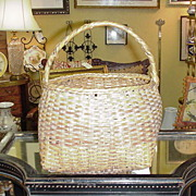 Old Hand-Woven Basket with Handle