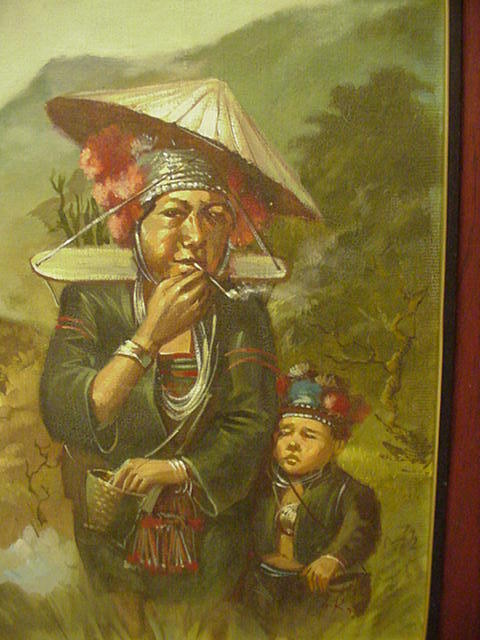 Vintage Oil Painting of Southeast Asian Woman and Child in Highland Meadow