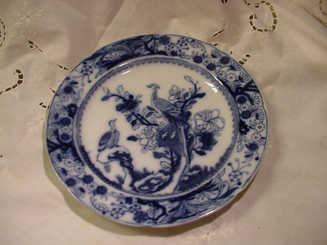 Mason's Patent Ironstone China Plate w Asiatic Pheasants in Tree, Flow Blue