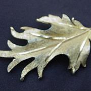 Large, Vintage RSK, Brushed Gold-Tone Metal Oak Leaf Pin