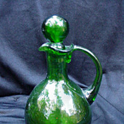 Vintage Green Blown Glass Cruet with Applied Handle