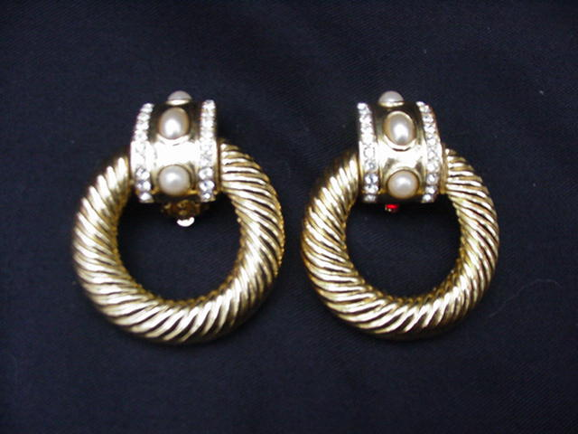 Vintage Givenchy Clip Earrings, Gold-tone Metal Hoops w Simulated Pearl and Rhinestone Clasp