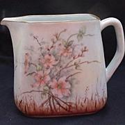 Hand-Painted, Artist Signed, Dogwood Blossom Porcelain Pitcher, Bavaria