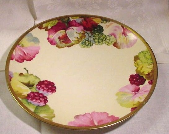 O&EG Royal Austria, Hand-Painted Plate , Floral & Fruit Borders, Signed by Artist