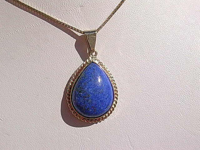 10kt Vintage Pear Shape Lapis Lazuli Pendant with 10kt Chain