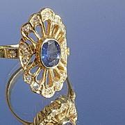 14kt Vintage Sapphire/Multi Diamond Lattice Fan Ladies Ring