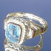 Silver/9kt Emerald Cut Vibrant Blue Topaz Artisan Ladies Ring