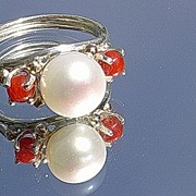 Silver/9kt Gold Freshwater Pearl/Coral Artisan Ladies Ring