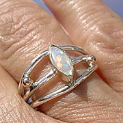 Silver/10kt Gold Marquis Cut Opal Artisan Ladies Ring