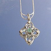 Sterling Silver Vintage Emerald/Seed Pearl Pendant with Chain