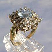 14kt Vintage Aquamarine/Multi Diamond Ladies Ring