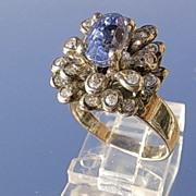 18kt White Gold Vintage Tanzanite/Multi Diamond Ladies Ring