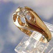 14kt Vintage 1/4 Carat Diamond Unisex Ring