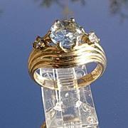 14kt Vintage Aquamarine/Diamond Ladies Ring