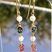 14kt Vibrant Multi Tourmaline/Culture Pearl Dangle Earrings