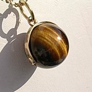10kt Spherical Tiger-Eye Pendant