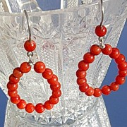 Sterling Multi Coral Hoop Earrings