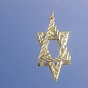 14kt  Vintage Star of David Multi Textured Pendant